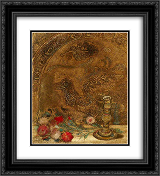 Still Life 20x22 Black or Gold Ornate Framed and Double Matted Art Print by Jankel Adler