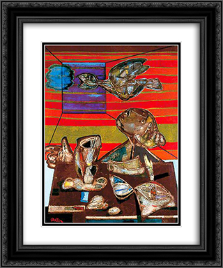 The Poet 20x24 Black or Gold Ornate Framed and Double Matted Art Print by Jankel Adler