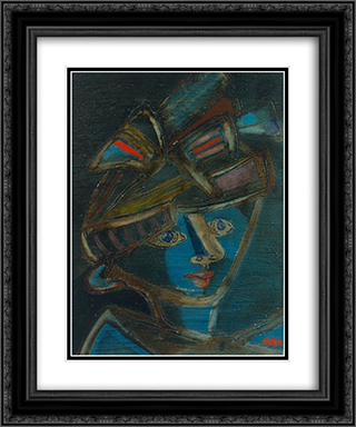Woman with Hat 20x24 Black or Gold Ornate Framed and Double Matted Art Print by Jankel Adler