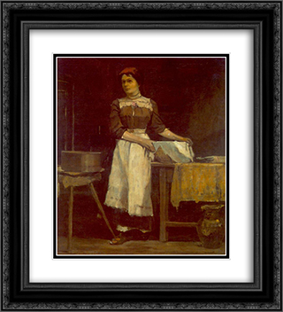 Bolting Girl 20x22 Black or Gold Ornate Framed and Double Matted Art Print by Janos Tornyai
