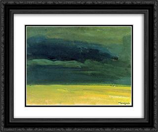 Clouding over the Great Hungarian Plain 24x20 Black or Gold Ornate Framed and Double Matted Art Print by Janos Tornyai