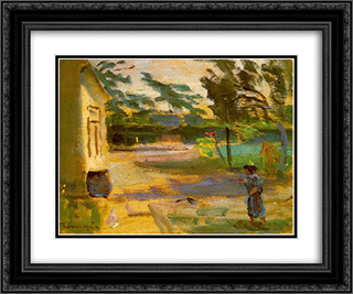 Cortyard in Sunshine 24x20 Black or Gold Ornate Framed and Double Matted Art Print by Janos Tornyai