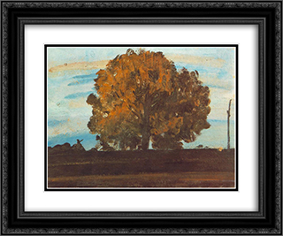 Great Tree at Martely 24x20 Black or Gold Ornate Framed and Double Matted Art Print by Janos Tornyai