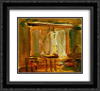 Interior with Curtained Window 22x20 Black or Gold Ornate Framed and Double Matted Art Print by Janos Tornyai