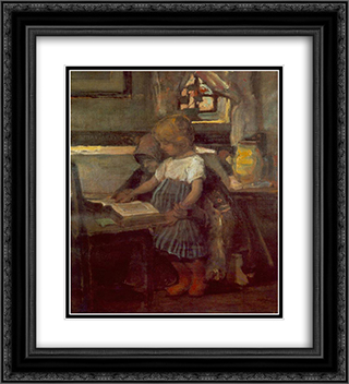 Lesson on the Farm 20x22 Black or Gold Ornate Framed and Double Matted Art Print by Janos Tornyai
