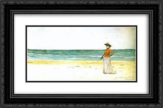 On a seacoast 24x16 Black or Gold Ornate Framed and Double Matted Art Print by Janos Tornyai