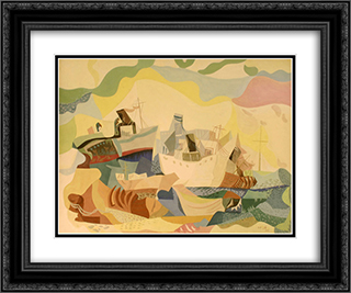 Boats of Jewish Immigrants (Hamaapilim) 24x20 Black or Gold Ornate Framed and Double Matted Art Print by Jean David