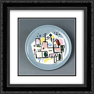City Scape (Ceramic) 20x20 Black or Gold Ornate Framed and Double Matted Art Print by Jean David