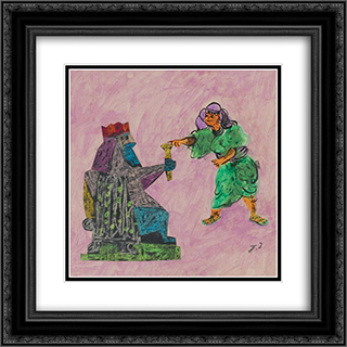 Esther and Ahaseurus 20x20 Black or Gold Ornate Framed and Double Matted Art Print by Jean David