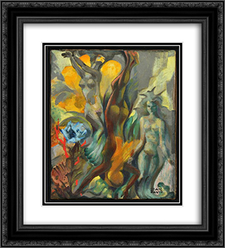 Fantastic Figures 20x22 Black or Gold Ornate Framed and Double Matted Art Print by Jean David