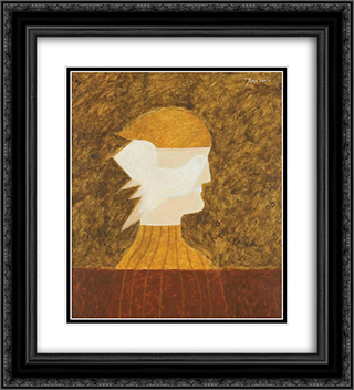 Figure and Bird 20x22 Black or Gold Ornate Framed and Double Matted Art Print by Jean David