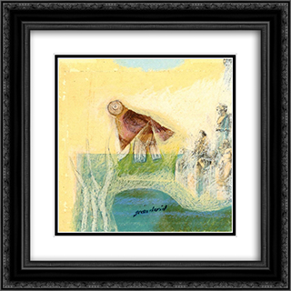Figures and a bird 20x20 Black or Gold Ornate Framed and Double Matted Art Print by Jean David