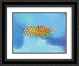Fish 24x20 Black or Gold Ornate Framed and Double Matted Art Print by Jean David