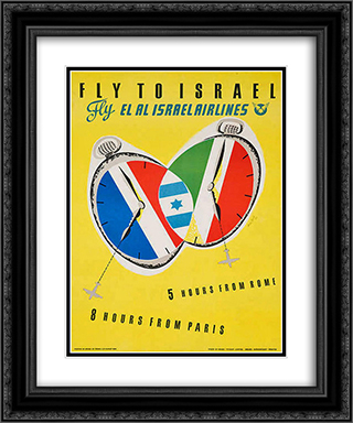 Fly to Israel 20x24 Black or Gold Ornate Framed and Double Matted Art Print by Jean David
