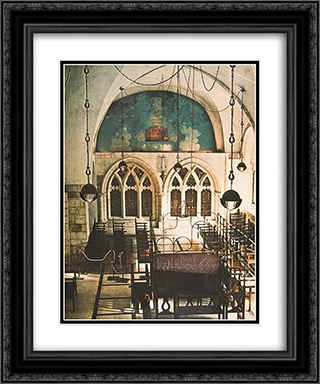 Heavenly Jerusalem (Vault Mural in the Sephardic Synagogue in the Old City, Jerusalem) 20x24 Black or Gold Ornate Framed and Double Matted Art Print by Jean David