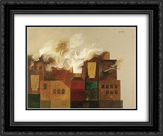 Houses in Flames 24x20 Black or Gold Ornate Framed and Double Matted Art Print by Jean David