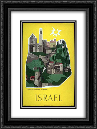 Israel 18x24 Black or Gold Ornate Framed and Double Matted Art Print by Jean David