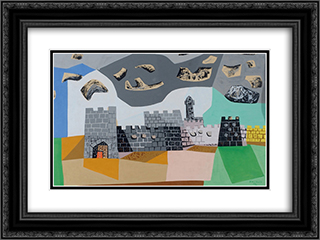 Jerusalem 24x18 Black or Gold Ornate Framed and Double Matted Art Print by Jean David