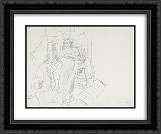 Le menage hereux 24x20 Black or Gold Ornate Framed and Double Matted Art Print by Jean David