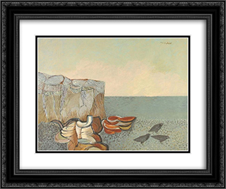 Marine Landscape 24x20 Black or Gold Ornate Framed and Double Matted Art Print by Jean David