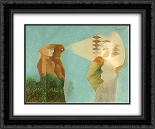 Observation 24x20 Black or Gold Ornate Framed and Double Matted Art Print by Jean David