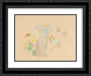 Parrots 24x20 Black or Gold Ornate Framed and Double Matted Art Print by Jean David