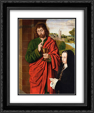 Anne of France, Lady of Beaujeu, Duchess of Bourbon, presented by St. John the Evangelist, right hand wing of a triptych 20x24 Black or Gold Ornate Framed and Double Matted Art Print by Jean Hey