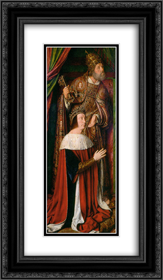 Peter II de Beaujeu of Bourbon with St. Peter - left wing of the Bourbon Altarpiece 14x24 Black or Gold Ornate Framed and Double Matted Art Print by Jean Hey