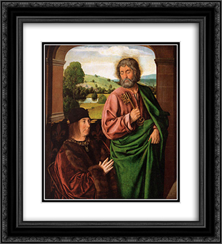 Peter II Duke of Bourbon presented by St. Peter, left hand wing of a triptych 20x22 Black or Gold Ornate Framed and Double Matted Art Print by Jean Hey