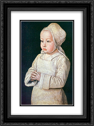 Portrait of Suzanne of Bourbon 18x24 Black or Gold Ornate Framed and Double Matted Art Print by Jean Hey