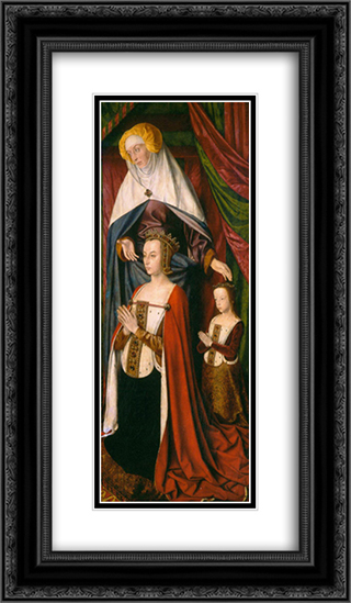 St. Anne presenting Anne of France and her daughter, Suzanne of Bourbon - right wing of The Bourbon Altarpiece 14x24 Black or Gold Ornate Framed and Double Matted Art Print by Jean Hey