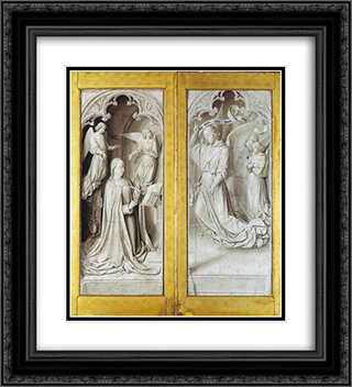 The Annunciation 20x22 Black or Gold Ornate Framed and Double Matted Art Print by Jean Hey