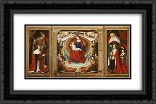 The Bourbon Altarpiece (The Moulins Triptych) 24x16 Black or Gold Ornate Framed and Double Matted Art Print by Jean Hey