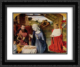 The Nativity 24x20 Black or Gold Ornate Framed and Double Matted Art Print by Jean Hey