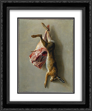 A Hare and a Leg of Lamb 20x24 Black or Gold Ornate Framed and Double Matted Art Print by Jean Baptiste Oudry