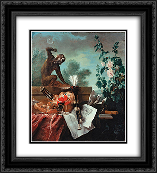 Allegory of Air 20x22 Black or Gold Ornate Framed and Double Matted Art Print by Jean Baptiste Oudry