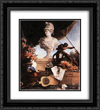 Allegory of Europe 20x22 Black or Gold Ornate Framed and Double Matted Art Print by Jean Baptiste Oudry