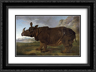 Clara the Rhinoceros 24x18 Black or Gold Ornate Framed and Double Matted Art Print by Jean Baptiste Oudry