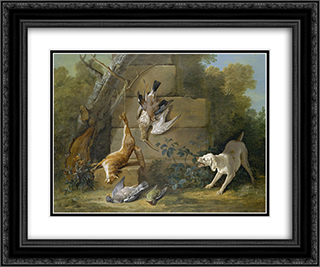 Dog Guarding Dead Game 24x20 Black or Gold Ornate Framed and Double Matted Art Print by Jean Baptiste Oudry