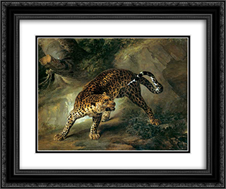 Leopard 24x20 Black or Gold Ornate Framed and Double Matted Art Print by Jean Baptiste Oudry