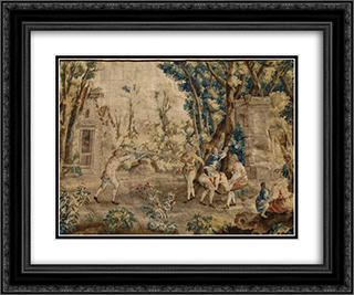 Les Amusements Champetres Le cheval fondu (Tapestry) 24x20 Black or Gold Ornate Framed and Double Matted Art Print by Jean Baptiste Oudry