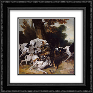 L'hallali du loup 20x20 Black or Gold Ornate Framed and Double Matted Art Print by Jean Baptiste Oudry