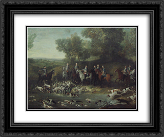 Louis XV Hunting Deer in the Saint-Germain Forest 24x20 Black or Gold Ornate Framed and Double Matted Art Print by Jean Baptiste Oudry