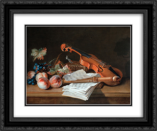 Still Life with a Violin, a Recorder, Books, a Portfolio of Sheet of Music, Peaches and Grapes on a Table Top 24x20 Black or Gold Ornate Framed and Double Matted Art Print by Jean Baptiste Oudry