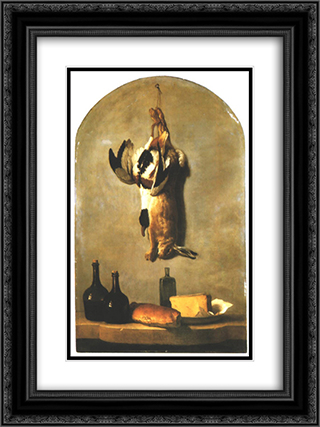 Still Life with Hare, Duck, Loaf of Bread, Cheese and Flasks of Wine 18x24 Black or Gold Ornate Framed and Double Matted Art Print by Jean Baptiste Oudry