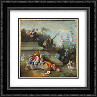Still Life with Monkey, Fruits, and Flowers 20x20 Black or Gold Ornate Framed and Double Matted Art Print by Jean Baptiste Oudry