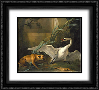 Swan Attacked by a Dog 22x20 Black or Gold Ornate Framed and Double Matted Art Print by Jean Baptiste Oudry