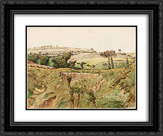 A Hilly Landscape 24x20 Black or Gold Ornate Framed and Double Matted Art Print by Jean Francois Millet