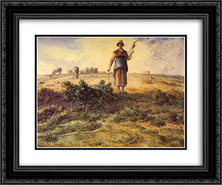 A Shepherdess And Her Flock 24x20 Black or Gold Ornate Framed and Double Matted Art Print by Jean Francois Millet
