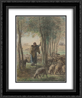 A Shepherdess and Her Flock in the Shade of Trees 20x24 Black or Gold Ornate Framed and Double Matted Art Print by Jean Francois Millet